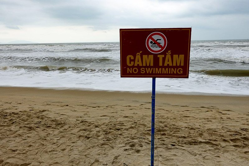 No swimming at An Bang beach, Vietnam