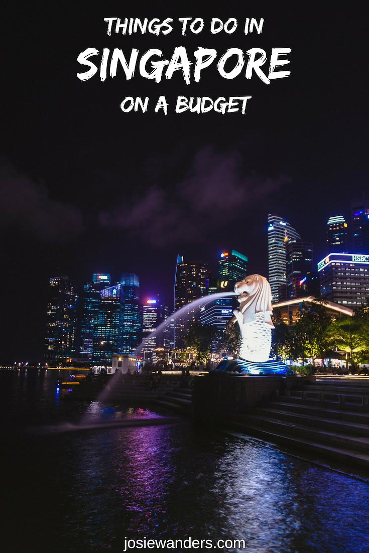 Things to do in Singapore on a Budget. Merlion at night.