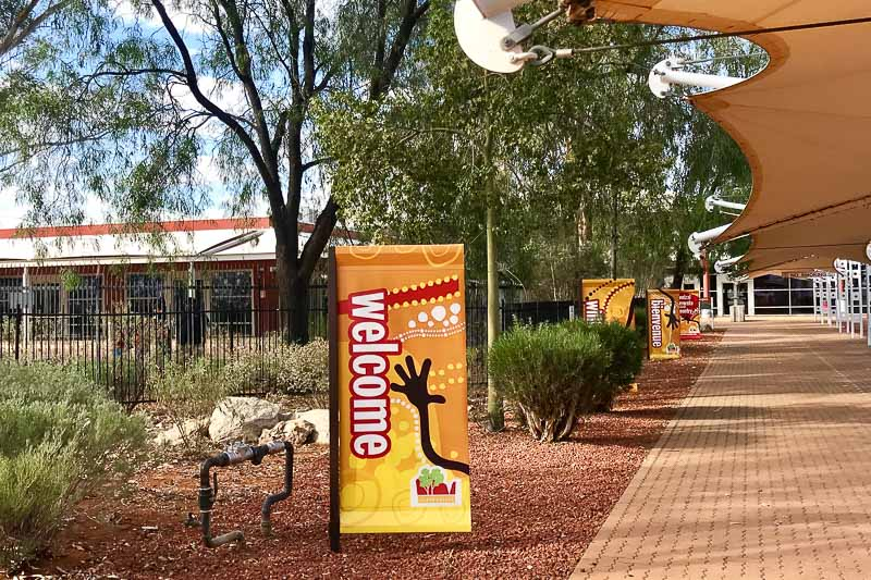 Alice Springs airport welcome sign