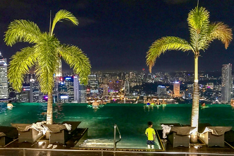 Marina Bay Sands Pool at night