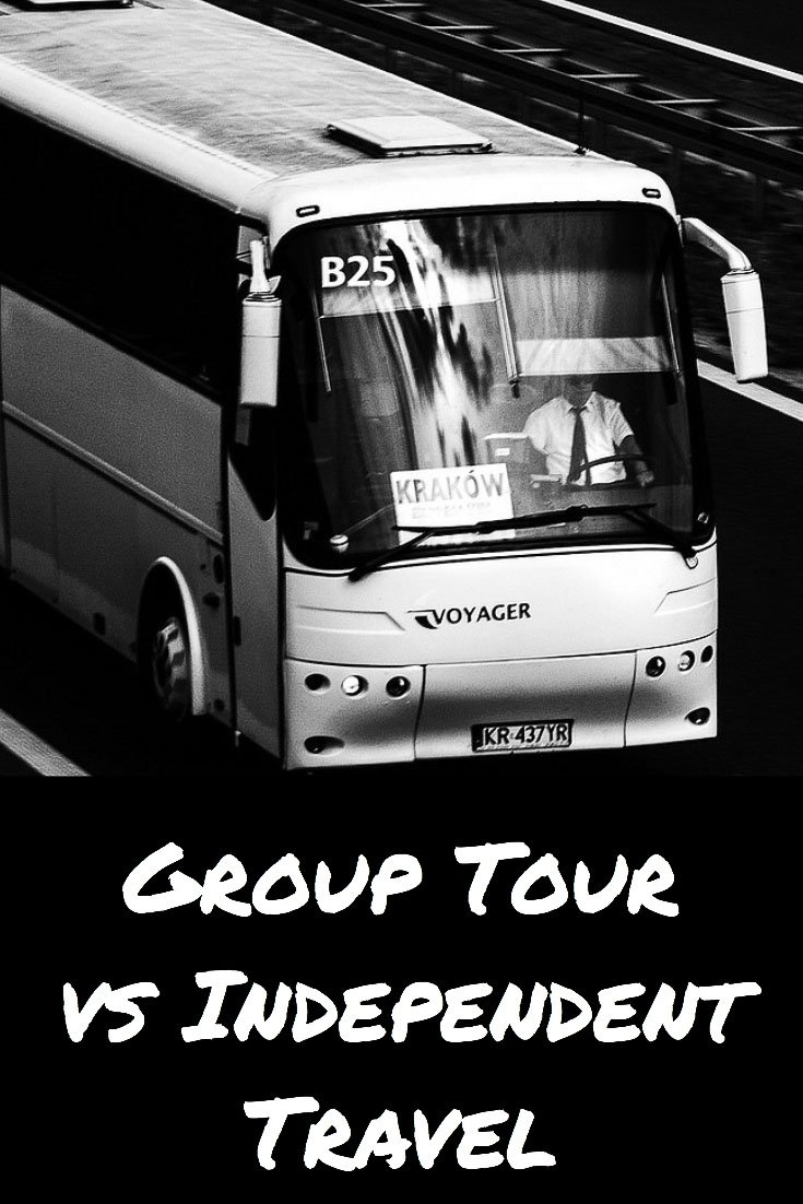 Group Tour vs Independent Travel: Which is Better pin image. Black and white tour white