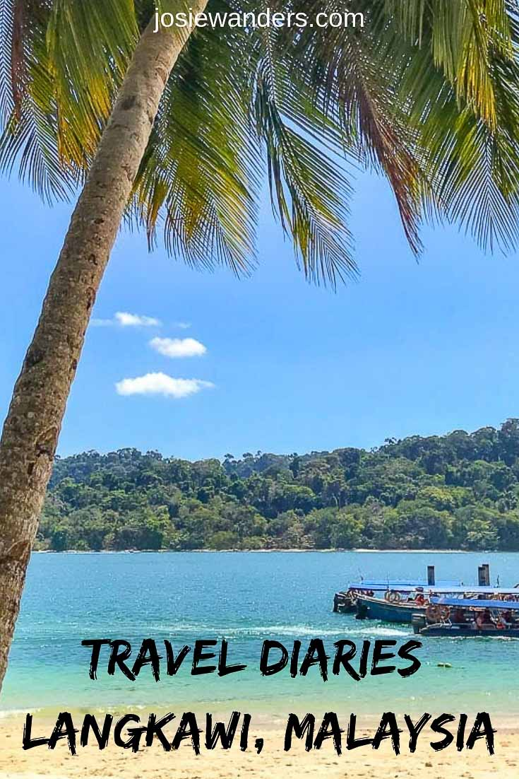 Travel Diaries - Langkawi pin image. Palm tree on beach with beautiful blue sea in the background