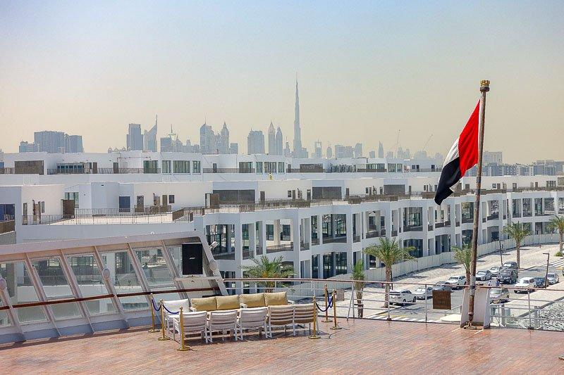 QE2 Hotel Dubai skyline view
