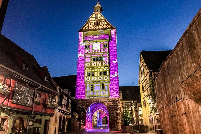 Riquewihr Tower at Night